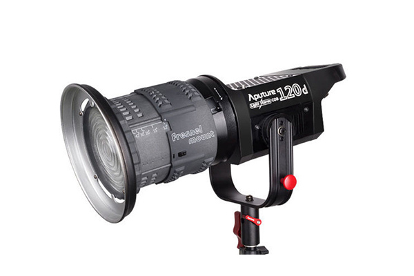 Aputure 120D + Fresnel | 5600K LED | 0-100% dimmable | Mains or V-Lock powered | Bowens mount | £45 + VAT per day