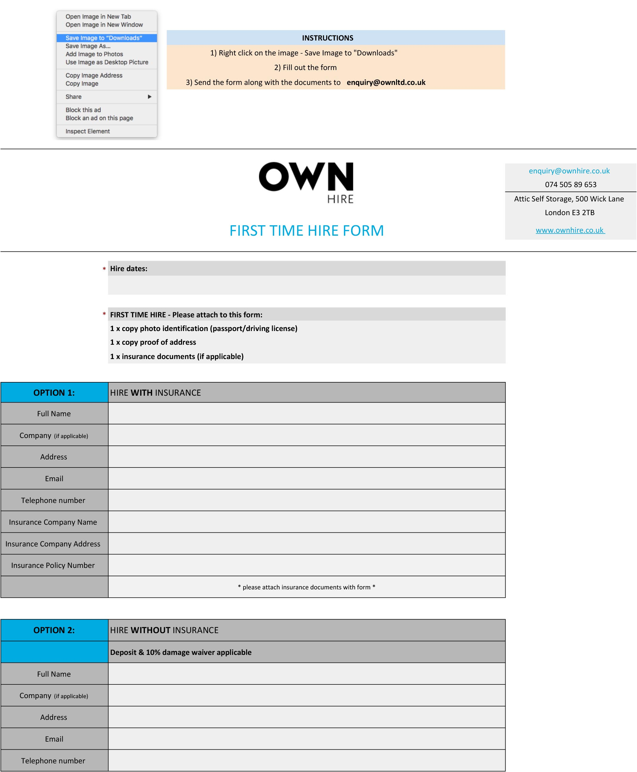OWN HIRE FIRST TIME HIRE FORM